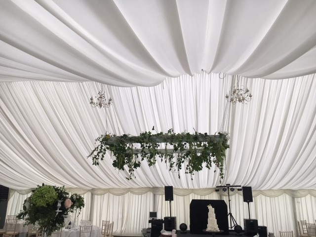 Flower Arrangement above wedding table from Every Bloomin Thing Flowers Glasgow