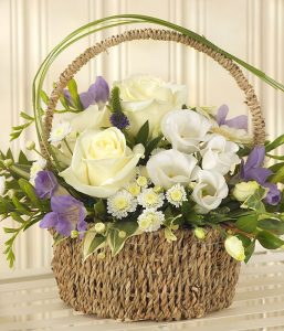 Blue Bundle of joy Basket of flowers from Every Bloomin Thing Flowers Glasgow