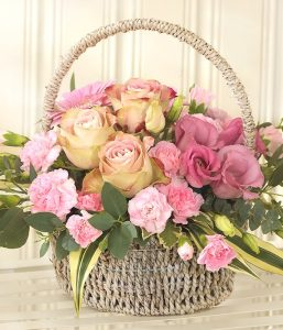 Pink Bundle of Joy basket of flowers from Every Bloomin Thing Flowers Glasgow