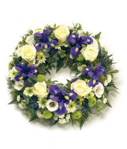 Purple and White Wreath from Every Bloomin Thing Flowers Glasgow
